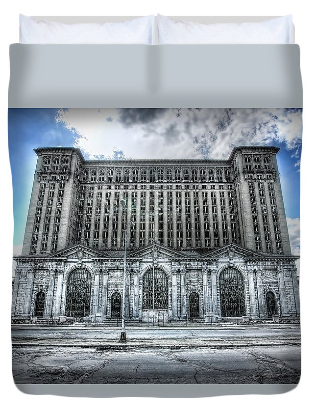 Detroit Duvet Cover featuring the photograph Detroit's Abandoned Michigan Central Train Station Depot by Gordon Dean II