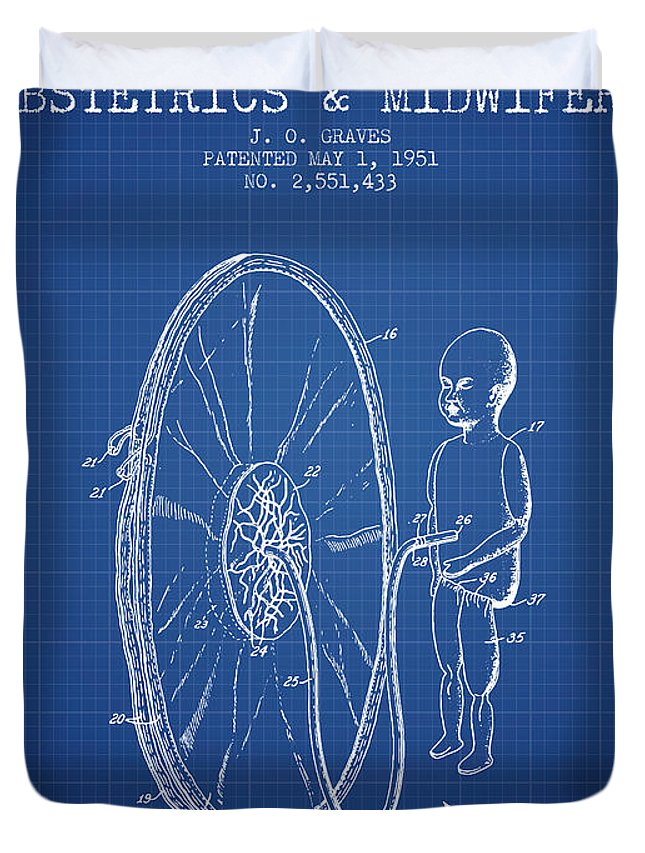 Midwife Duvet Cover featuring the drawing Device For Teaching Obstetrics And Midwifery Patent From 1951 - Bl by Aged Pixel