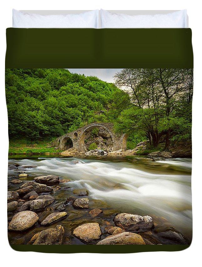 Bridge Duvet Cover featuring the photograph Devil's Bridge In Spring by Evgeni Ivanov