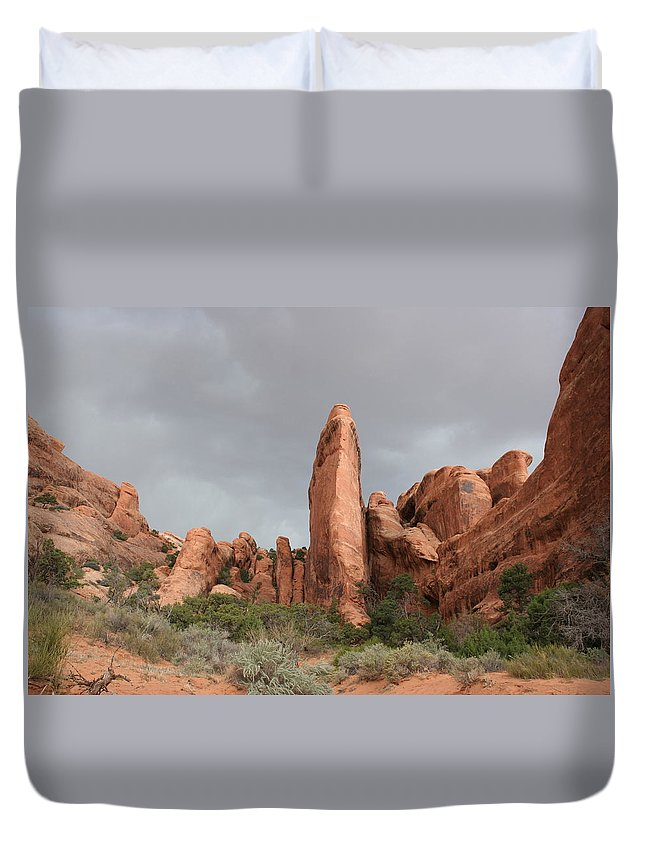 Rocks Duvet Cover featuring the photograph Devils Garden Arches Np by Christiane Schulze Art And Photography