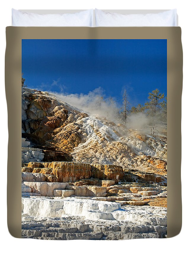 Autumn Duvet Cover featuring the photograph Devils Thumb At Mammoth Hot Springs by Fred Stearns