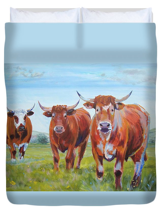 Ruby Red Cow Duvet Cover featuring the painting Devon Cattle by Mike Jory