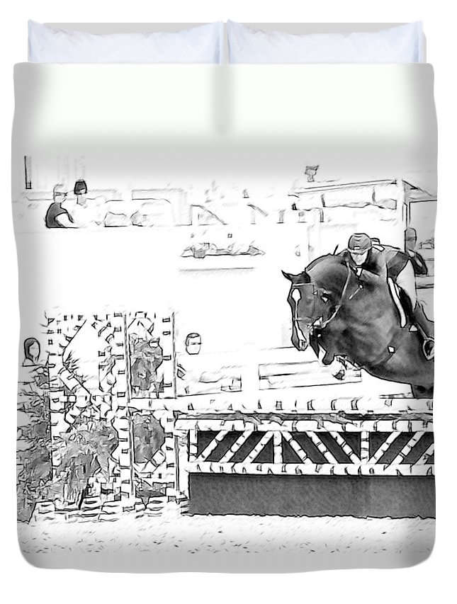 Devon Horse Show Jumper Hunter Horse Pencil Look Duvet Cover featuring the photograph Devon Jumper by Alice Gipson
