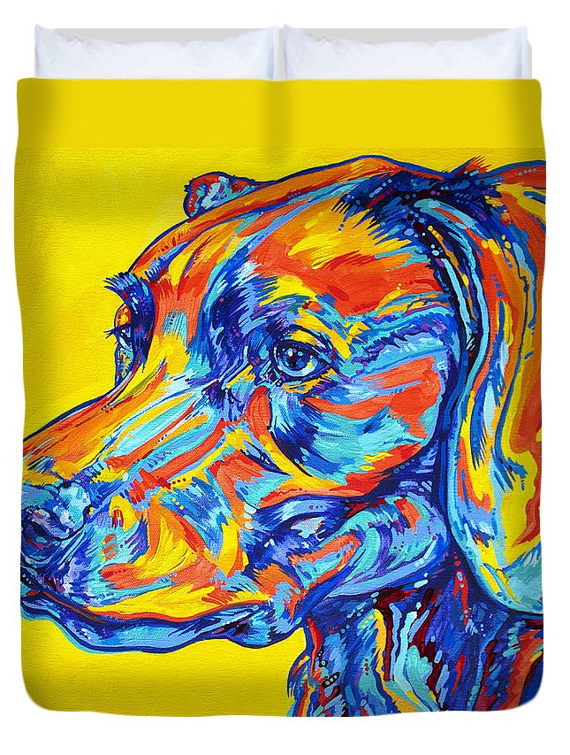 Dog Duvet Cover featuring the painting Devoted Friend by Derrick Higgins
