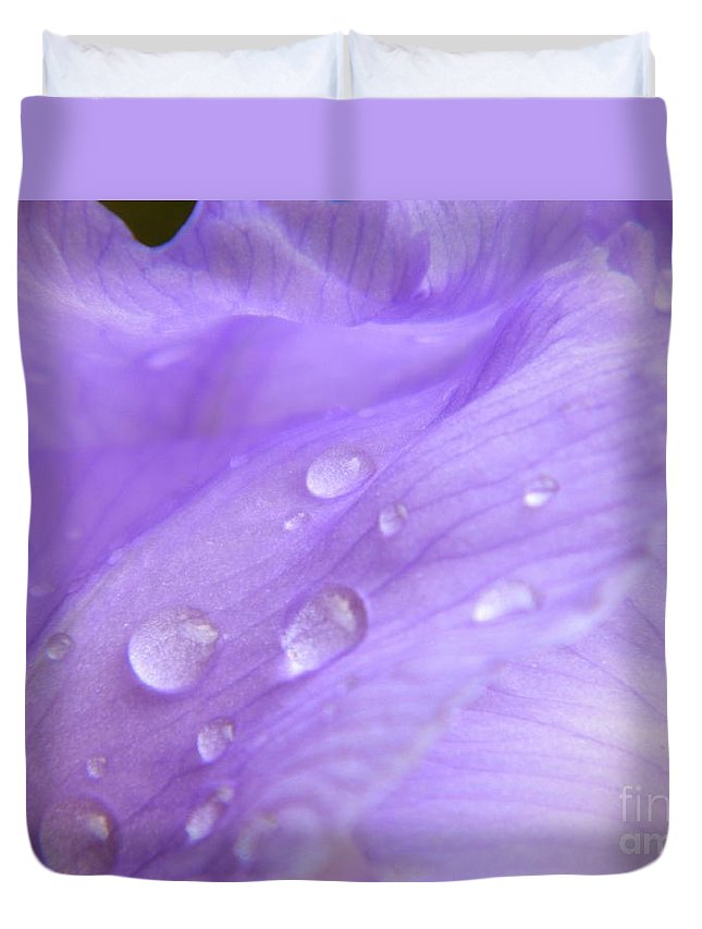 Dew Drops Duvet Cover featuring the photograph Dew Drops by K L Roberts