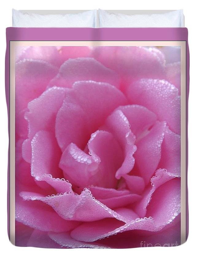 Dew Duvet Cover featuring the photograph Dew Kissed Rose by Sara Raber