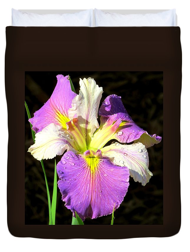 Purple Iris Duvet Cover featuring the photograph Dew On An Iris by Phyllis Beiser