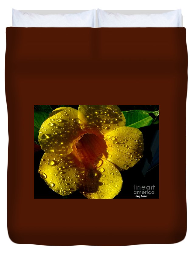 Patzer Duvet Cover featuring the photograph Dew Trumpet by Greg Patzer