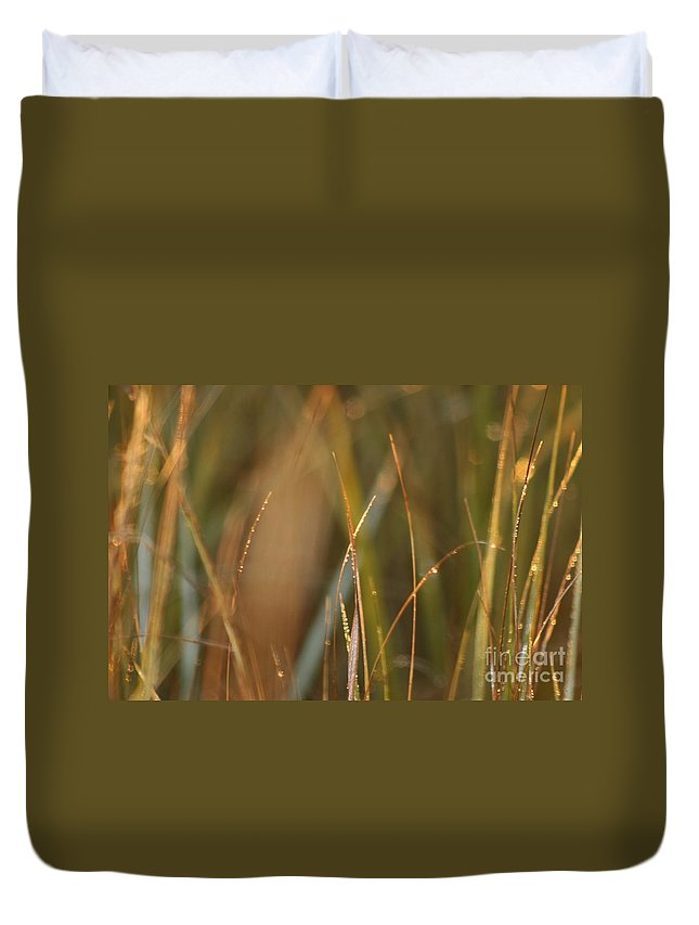 Dew Duvet Cover featuring the photograph Dewy Grasses by Nadine Rippelmeyer