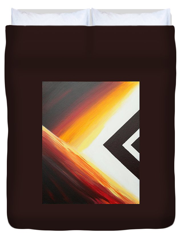 Abstract Duvet Cover featuring the painting Diamond Fire 1 by Debbie Levene