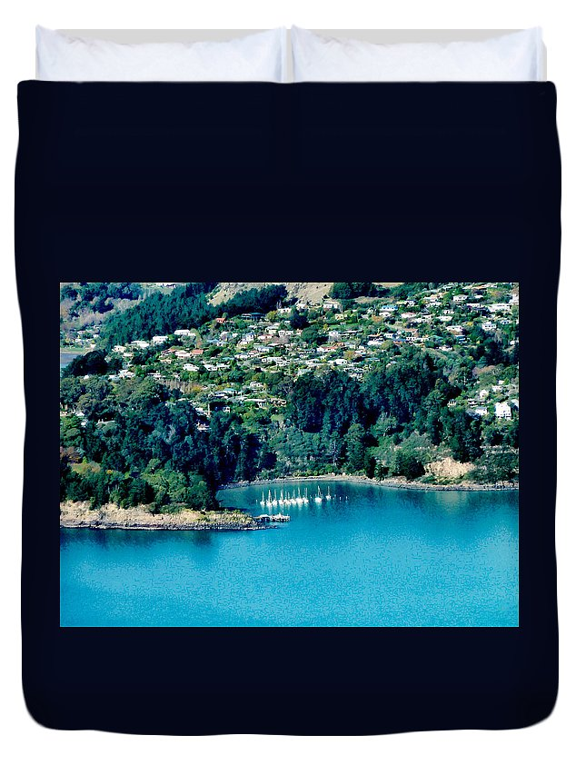 Banks Peninsula Duvet Cover featuring the photograph Diamond Harbour by Steve Taylor