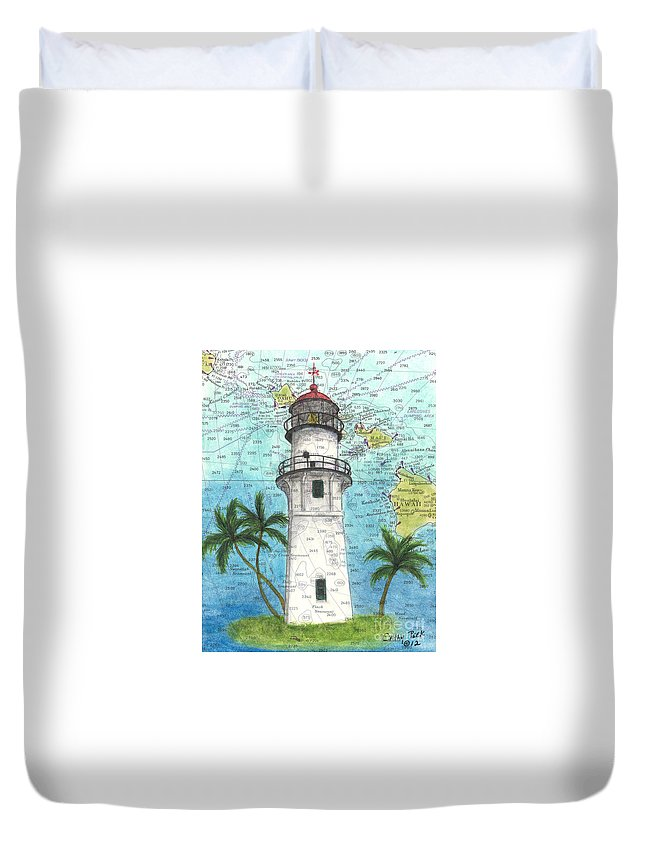 Diamond Duvet Cover featuring the painting Diamond Head Lighthouse Hi Nautical Chart Map Art by Cathy Peek
