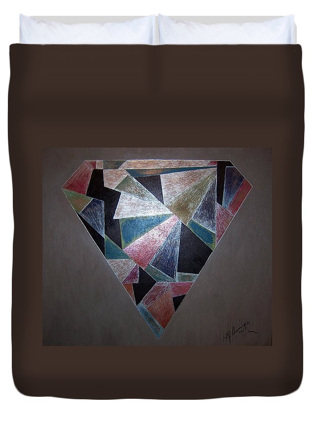 Diamond Duvet Cover featuring the painting Diamond In The Mud by Patricia Brewer-Cummings