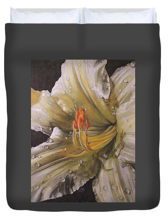 Daylily Duvet Cover featuring the painting Diamonds by Barbara Keith