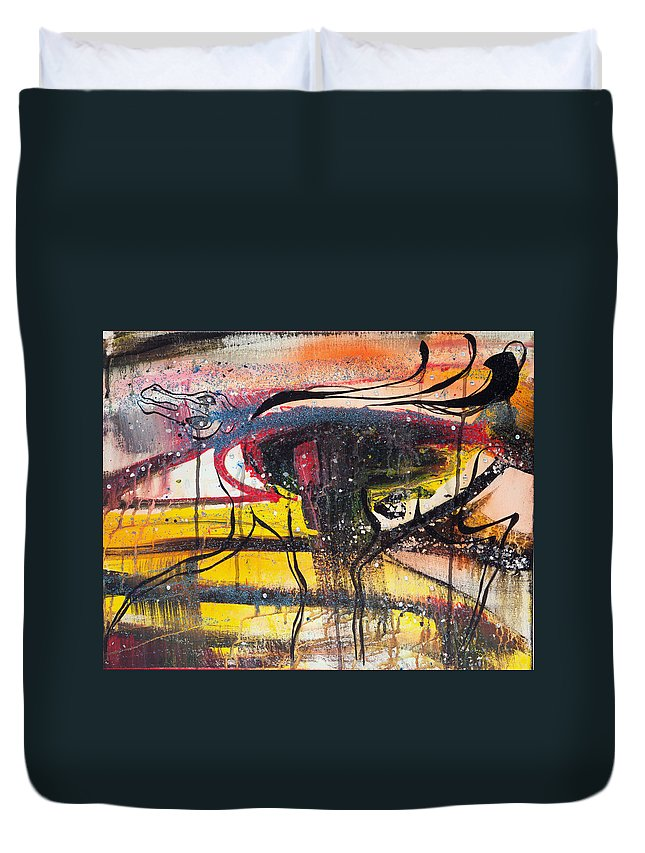 Acrylic Duvet Cover featuring the painting Diamonds On The Face Of Evil II by Sheridan Furrer