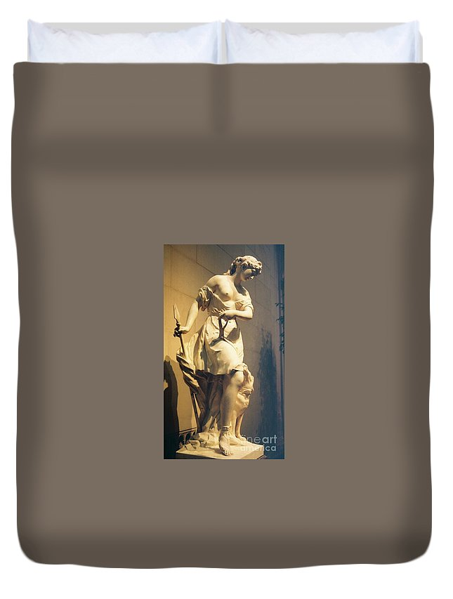 Diana Duvet Cover featuring the painting Diana Goddess Of The Hunt by Eric Schiabor