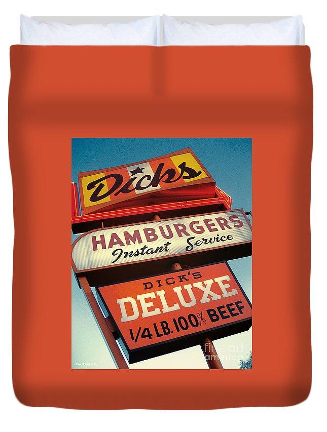 Burgers Duvet Cover featuring the digital art Dick's Hamburgers by Jim Zahniser