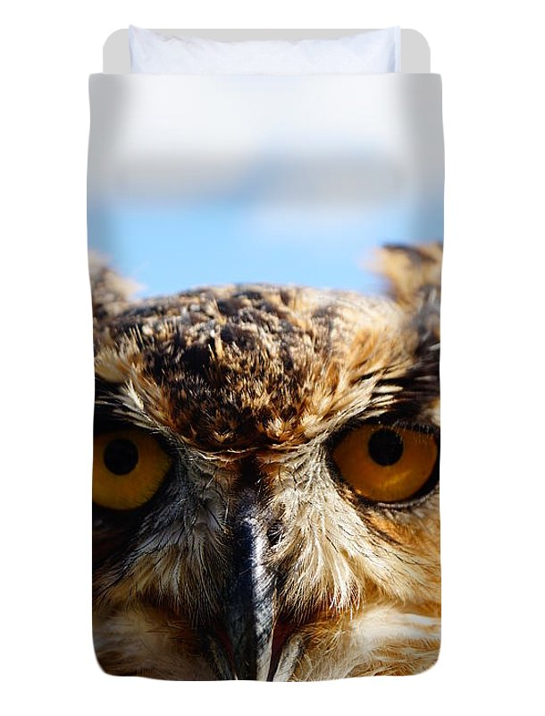 An Owl Looking Into Your Eyes Duvet Cover featuring the photograph Did You Bring A Mouse by Jeffery L Bowers