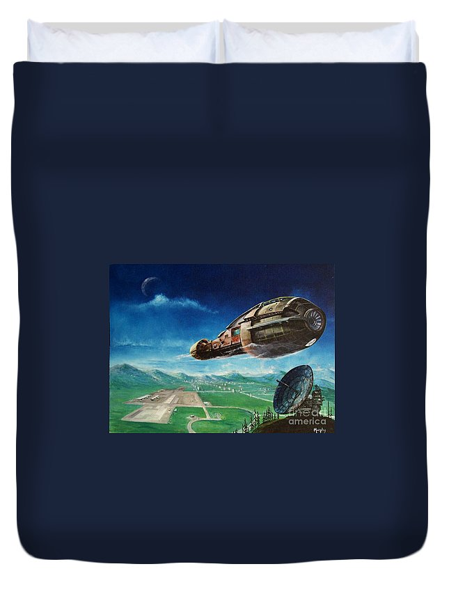 Landscape Duvet Cover featuring the painting Did You Call by Murphy Elliott