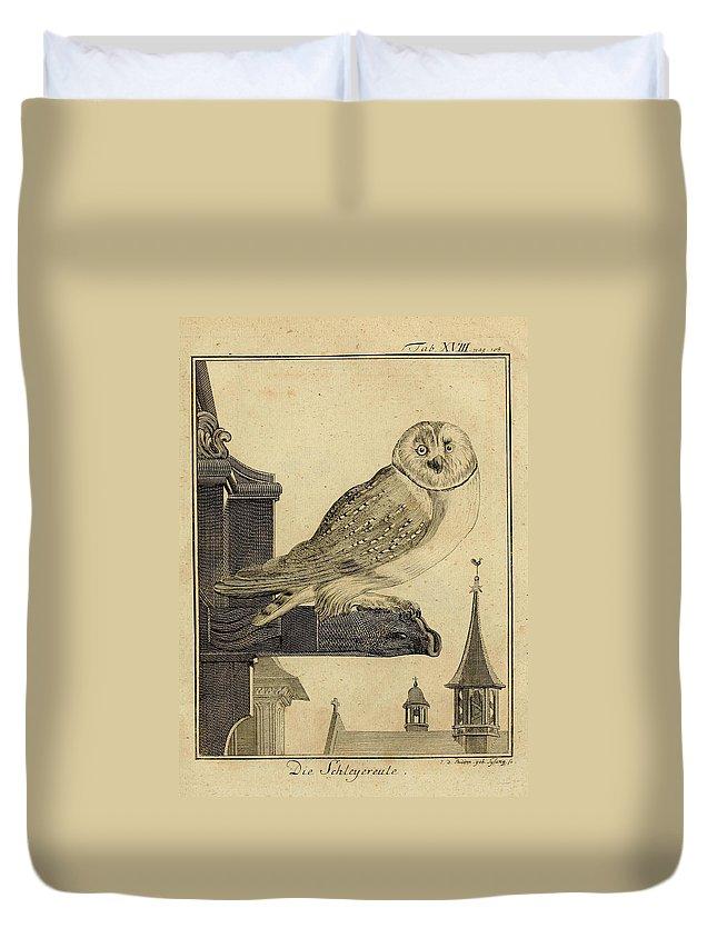Die Duvet Cover featuring the drawing Die Schleyer Eule by Philip Ralley