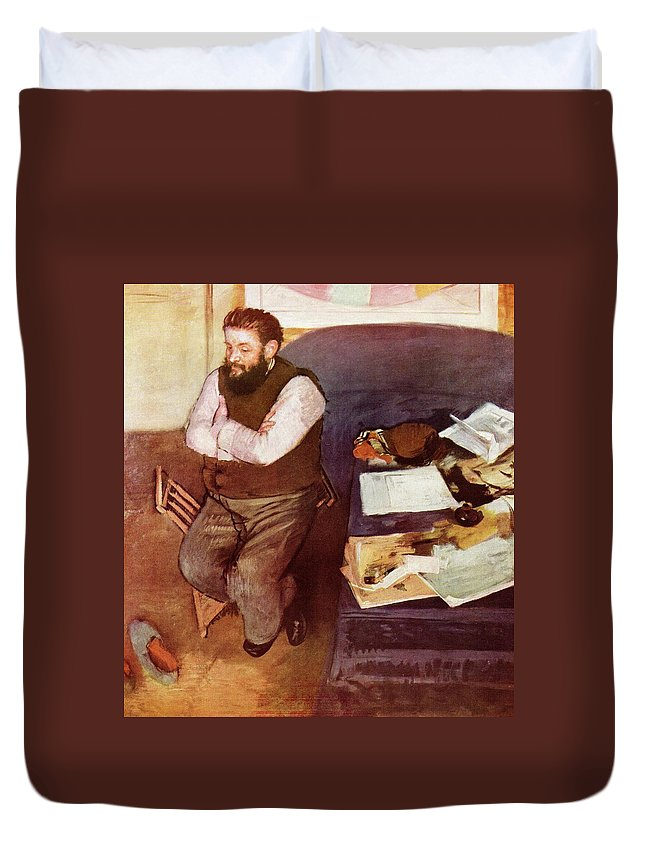 Edgar Degas Duvet Cover featuring the digital art Diego Martelli by Edgar Degas