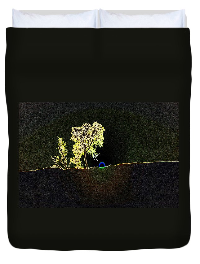 Trees Duvet Cover featuring the photograph Digital Sunset by Jeff Swan