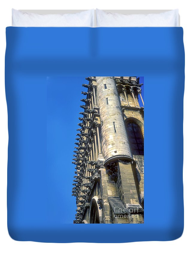 Dijon Cathedral France Cathedrals Church Churches Building Buildings Architecture Gargoyle Gargoyles City Cities Cityscape Cityscapes Structure Structures Duvet Cover featuring the photograph Dijon Cathedral by Bob Phillips