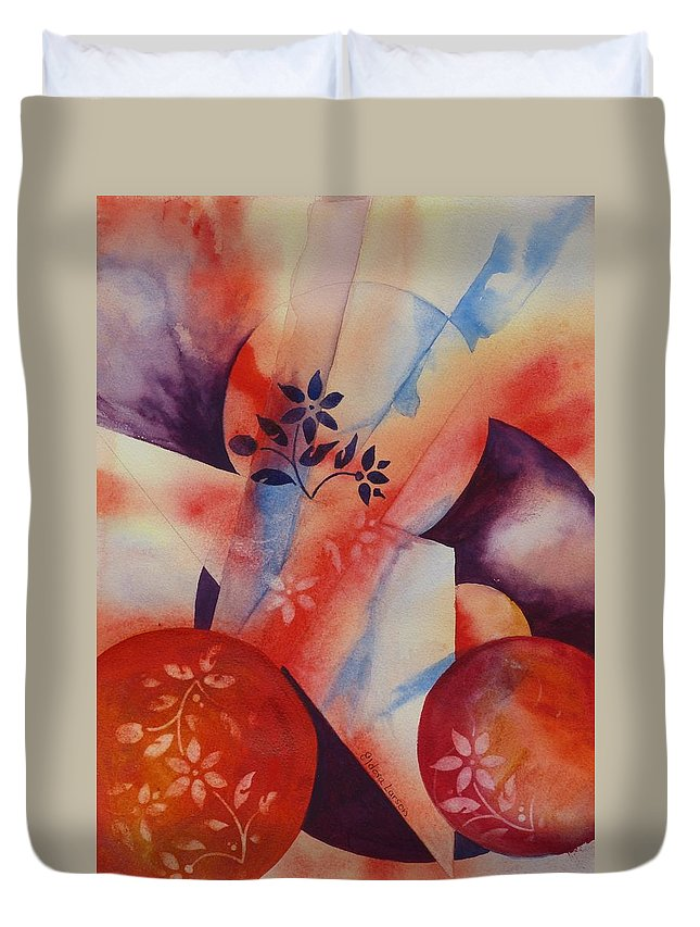Triangle Duvet Cover featuring the painting Dimensions by Eldora Schober Larson