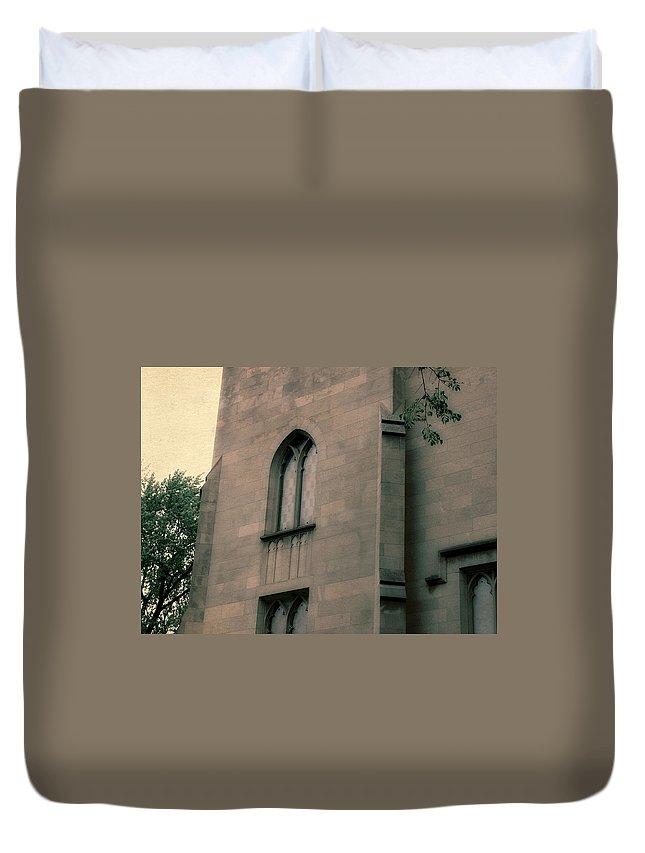 Church Duvet Cover featuring the photograph Dimnent Memorial Chapel Detail by Michelle Calkins