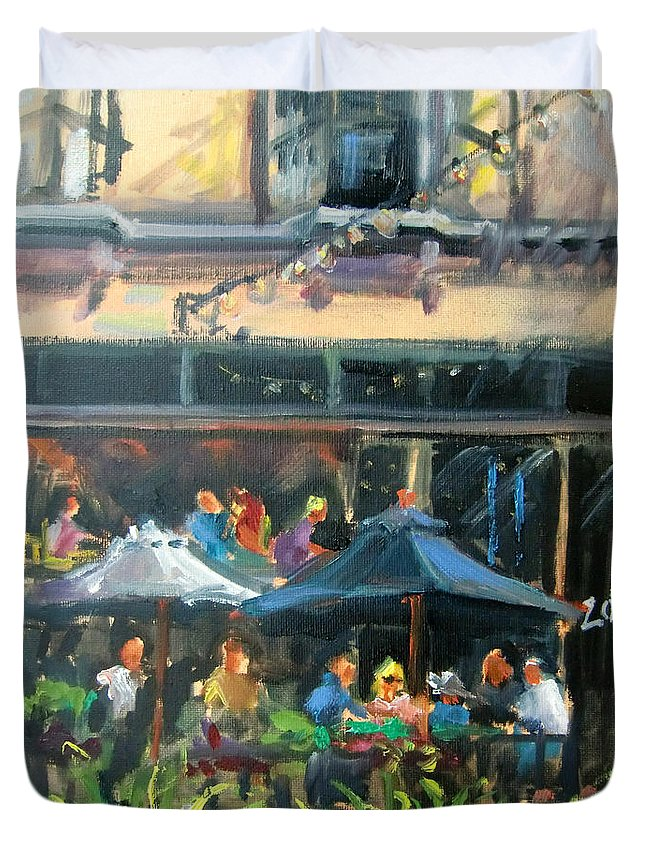Dining Duvet Cover featuring the painting Dine Out On 4th Street by Mitzi Lai