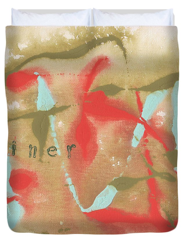 Olive Duvet Cover featuring the painting Diner by Paulette B Wright