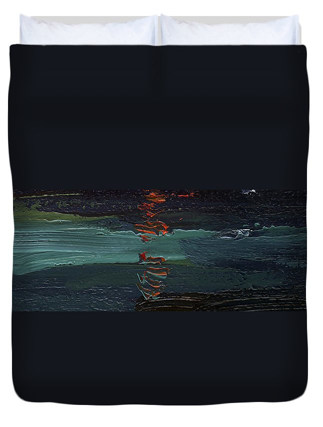 Colour Duvet Cover featuring the painting Dingle Quay By Night Detail 1 On The Wild Atlantic Way Of Western Ireland by Catherine Considine