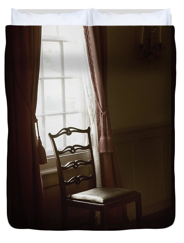 Chair Duvet Cover featuring the photograph Dining Room Window by Margie Hurwich