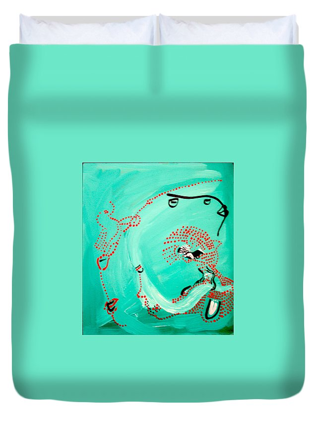 Jesus Duvet Cover featuring the painting Dinka Corset - Manlual - South Sudan by Gloria Ssali