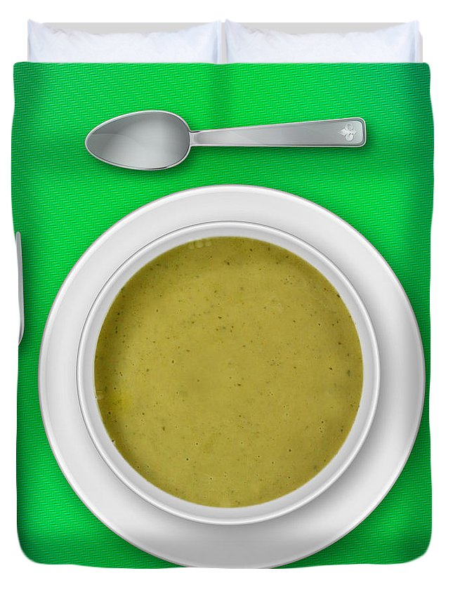 Green Duvet Cover featuring the photograph Dinner Setting 06 by Jo Roderick