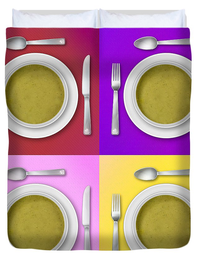 Red Duvet Cover featuring the photograph Dinner Setting Combo 04 by Jo Roderick