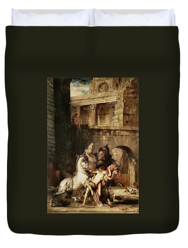 Gustave Moreau Duvet Cover featuring the painting Diomedes Devoured By His Horses by Gustave Moreau