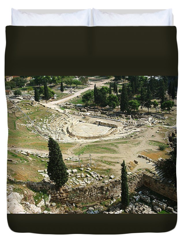 Dionysus Theater Duvet Cover featuring the photograph Dionysus Amphitheater by Ellen Henneke