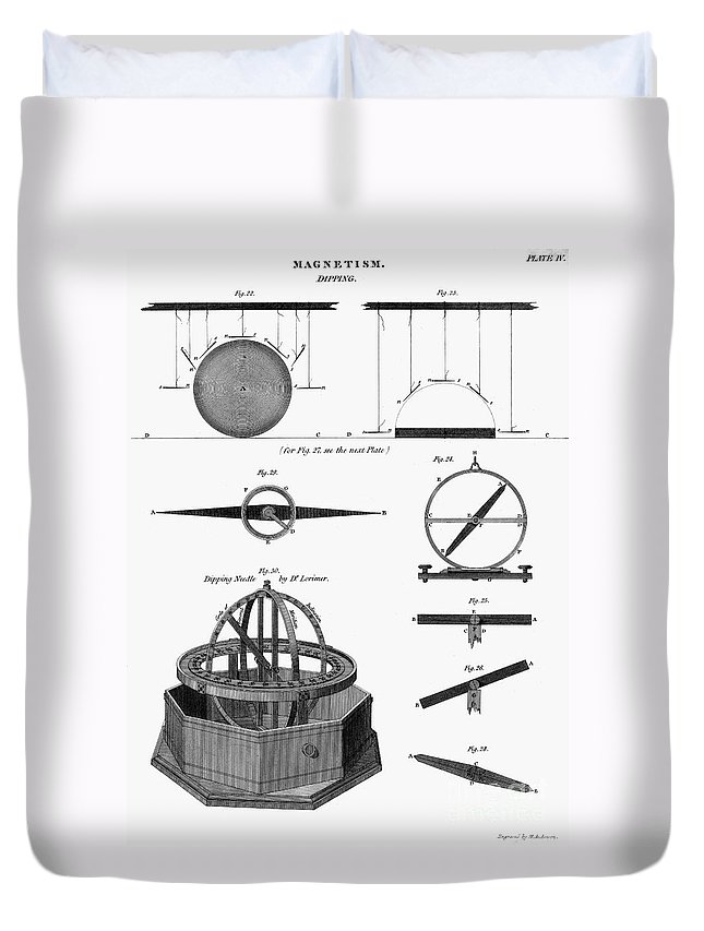 1764 Duvet Cover featuring the photograph Dipping Needle Compass by Granger