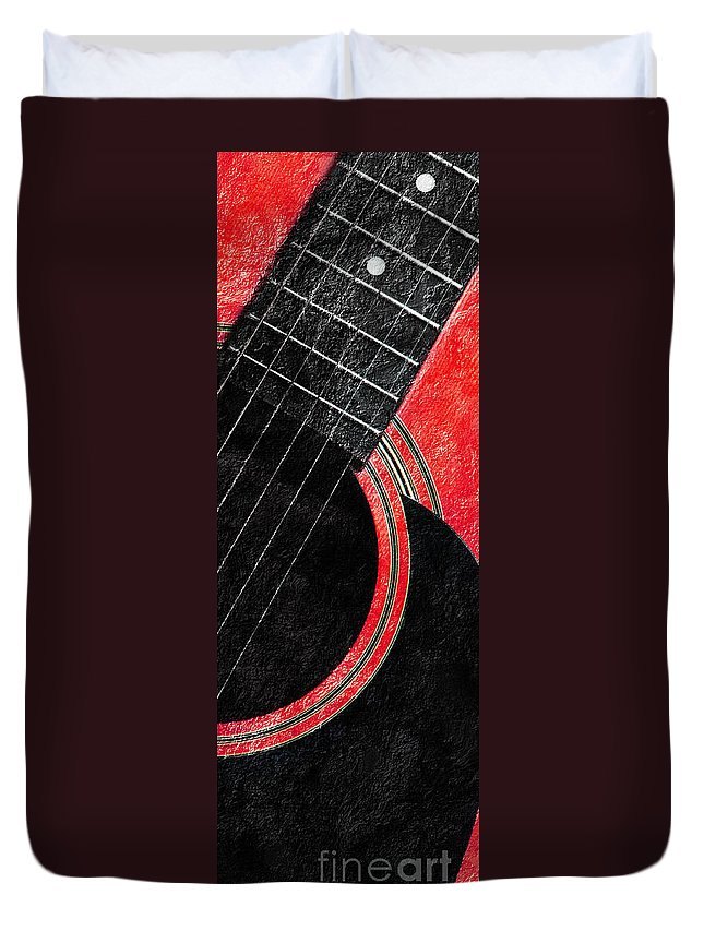 Guitar Duvet Cover featuring the photograph Diptych Wall Art - Macro - Red Section 2 Of 2 - Giants Colors Music - Abstract by Andee Design