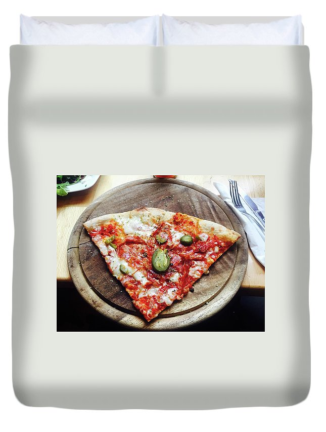 Unhealthy Eating Duvet Cover featuring the photograph Directly Above Shot Of Pizza Slice by Svitlana Pavelko / Eyeem