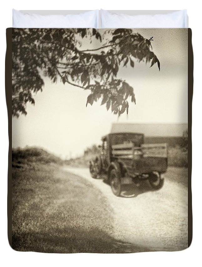 Antique; Vintage; Truck; Model A; Pick Up; Dirt; Farm; Rural; Country; Barn; Tree; Sunny; Sepia; Shadows; Transportation; Driving; Blur; Blurred; Blurry; Leaves; Grass Duvet Cover featuring the photograph Dirt Drive by Margie Hurwich
