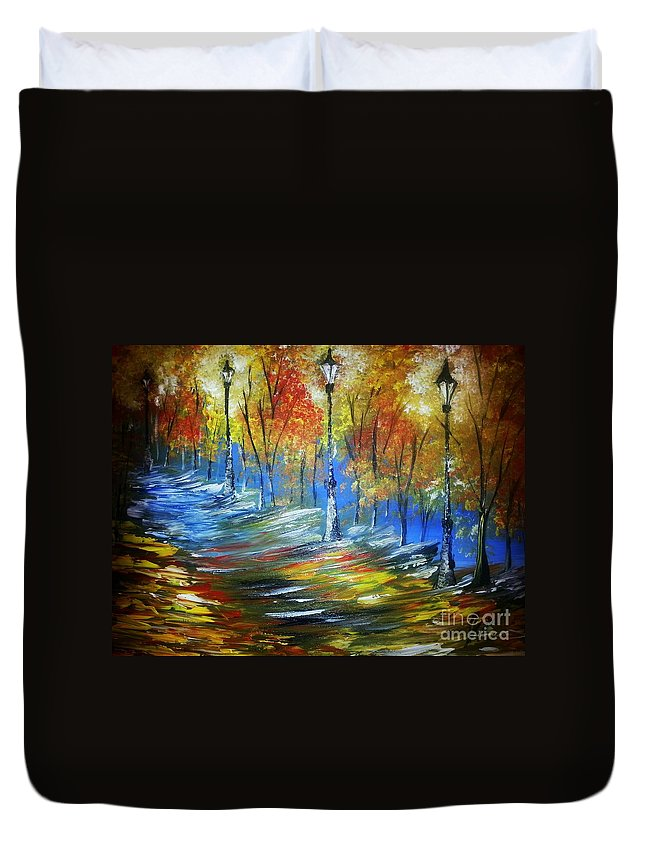 Painting On Canvas Duvet Cover featuring the painting Dirt Track In Light's by Collin A Clarke