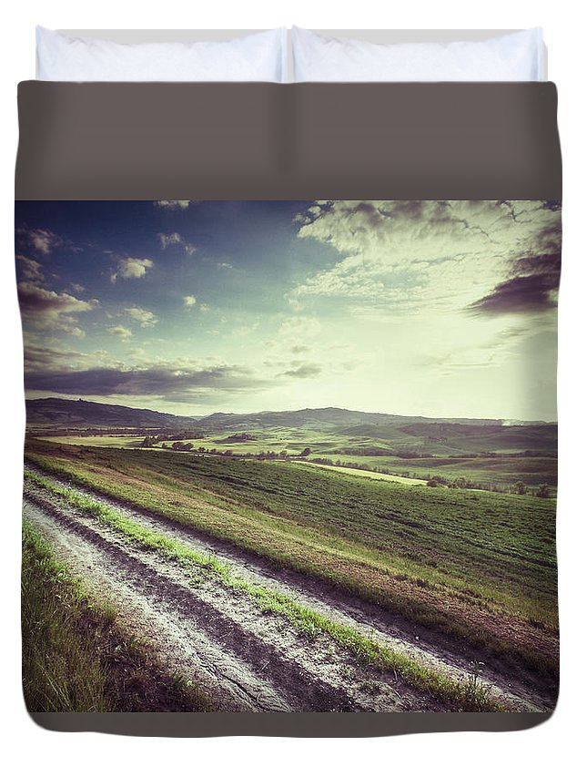 Steppe Duvet Cover featuring the photograph Dirt Track In Tuscany by Xavierarnau