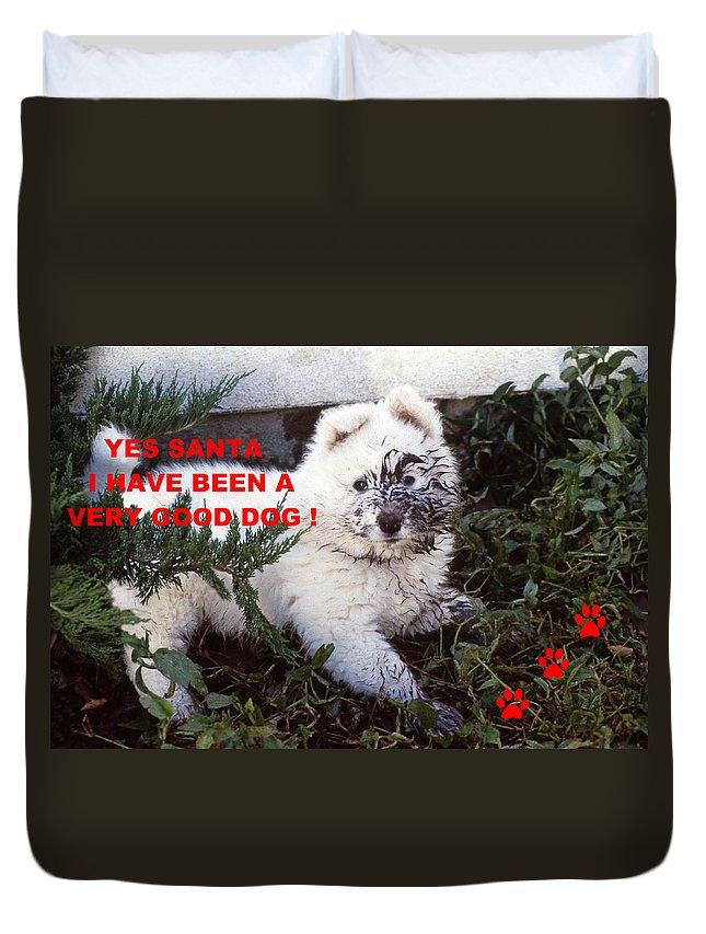 Dog Christmas Card Photo.Dirty Dog Christmas Card Duvet Cover
