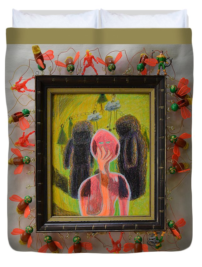 Abstract Modern Outsider Raw Figures People Red Green Stone Bugs Beads Folk Person Yellow Pink Brown Black White Shadow Person Shadows Duvet Cover featuring the painting Disappearance Of The Woman And Her Own Two Stone Children With Clouds On Wheels - Framed by Nancy Mauerman