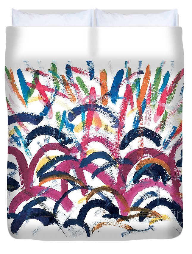 Disco Duvet Cover featuring the painting Disco by Bjorn Sjogren