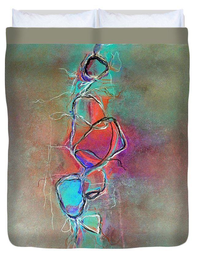 Pastel Paintings Duvet Cover featuring the painting Disconnected by Katie Black