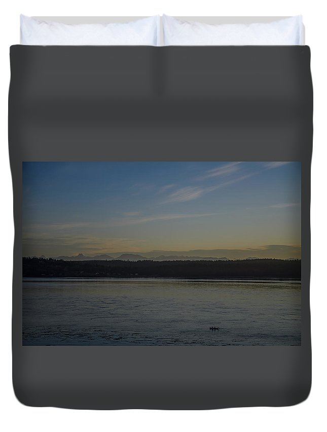 Discovery Passage Duvet Cover featuring the photograph First Light Discovery Passage by Roxy Hurtubise