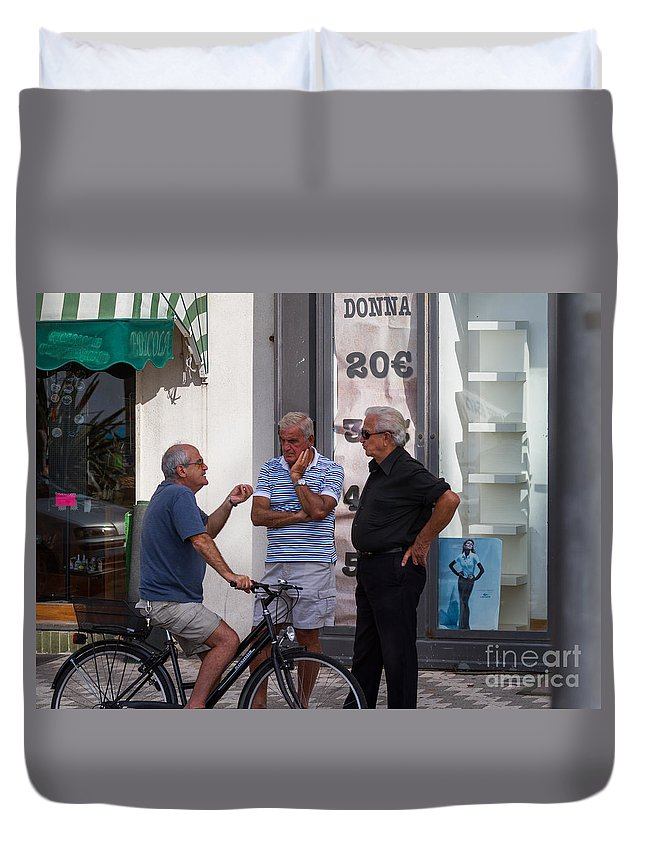 Amalfi Coast Duvet Cover featuring the photograph Discussing It In Maiori Italy by Dan Hartford